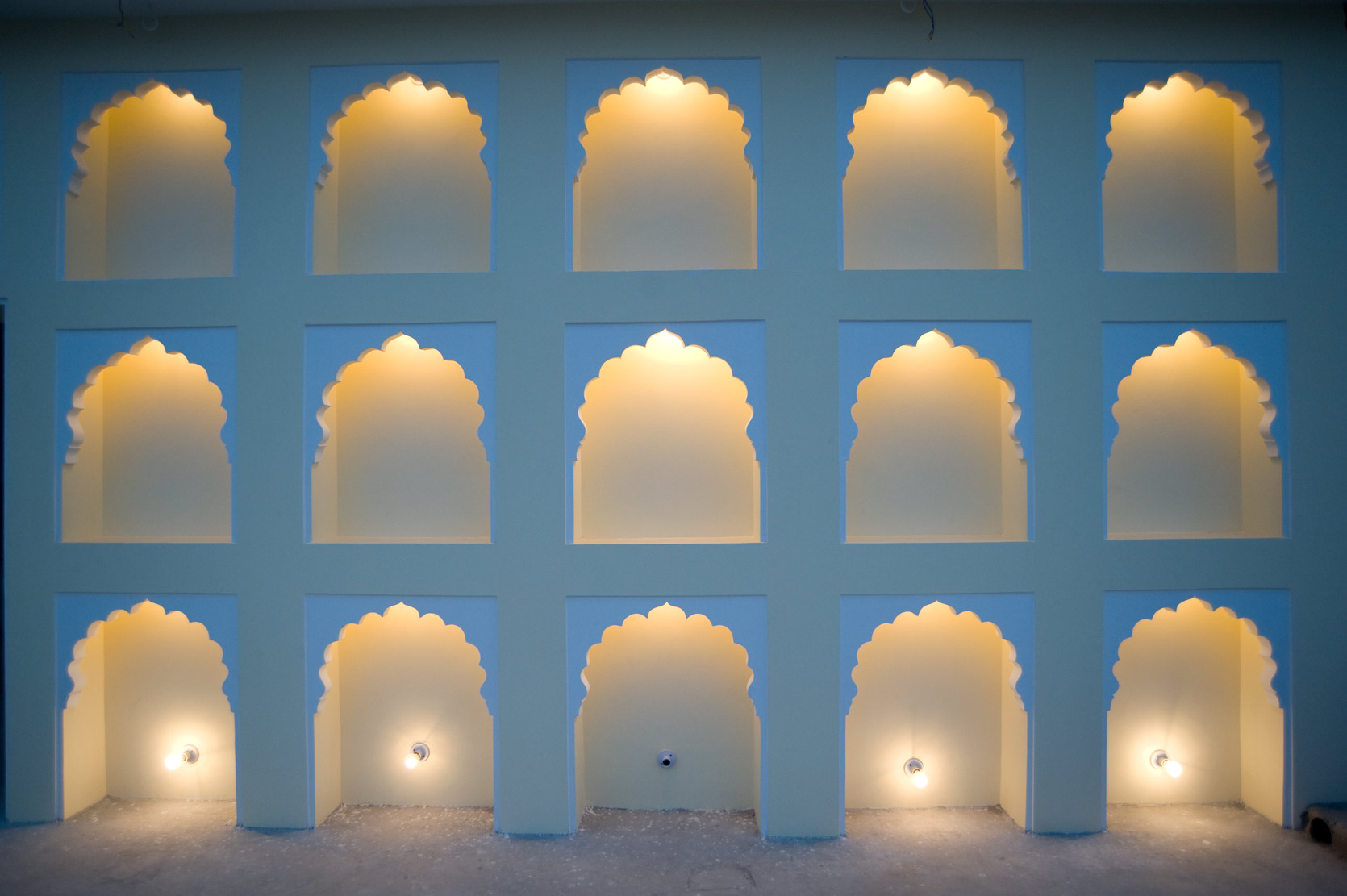 Lit arches in the evening, Jaipur