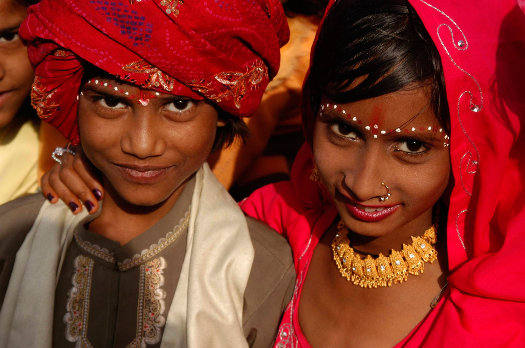Boy and girl dressed up for Sheetlamata festival, Jaipur